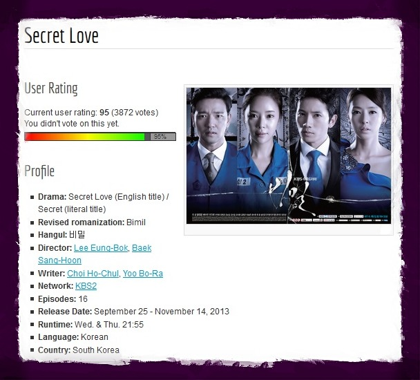 اطلاعات و عکس بازیگران سریال عشق مخفی Secret Love 2013