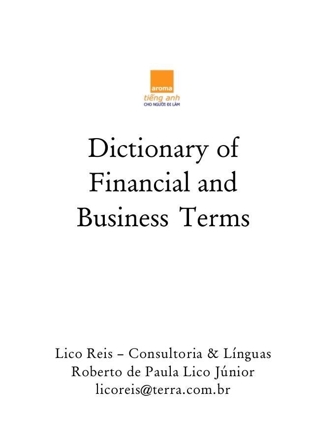 دانلود دیکشنری اصطلاحات مالی و تجاری Dictionary of Financial and Business Terms