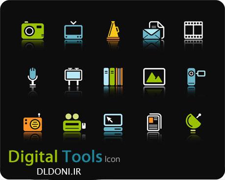 وکتور زیبا و گرافیکی ابزار و رسانه های دیجیتال