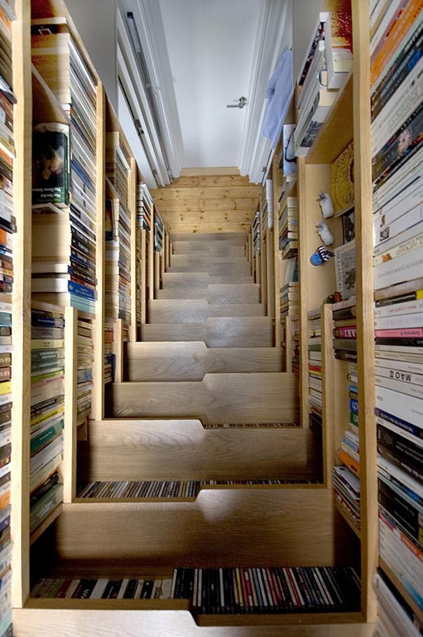 طراحی خلاقانه راه پله به عوان کتاب خانه