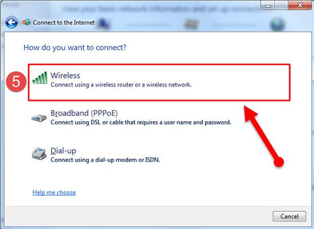5 اتصال به اینترنت وایرلس در ویندوز 7 -ساخت کانکشن