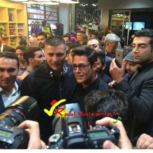 محمدرضا گلزار و علی دایی در افتتاحیه فروشگاه دایی