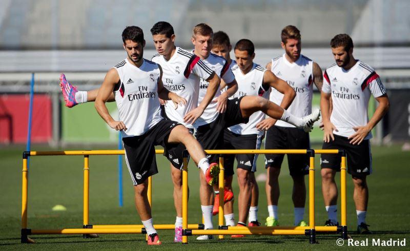 جیمز رودریگز در تمرین رئال مادرید