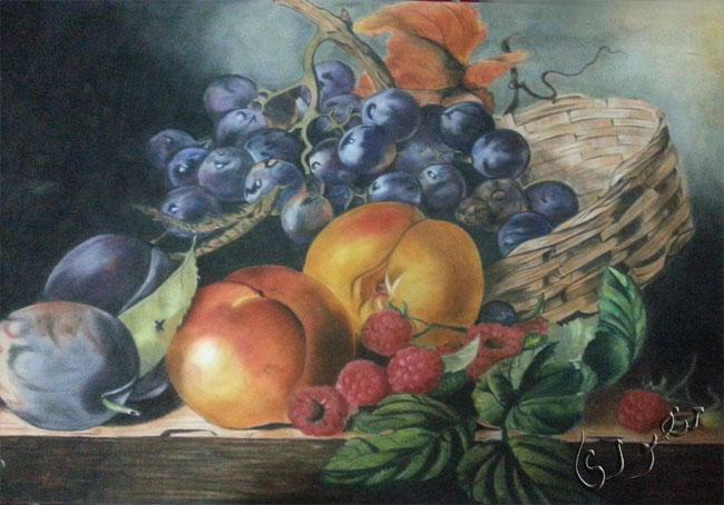 سبد میوه -کار با پاستل گچی روی مقوای مخمل فابریانو