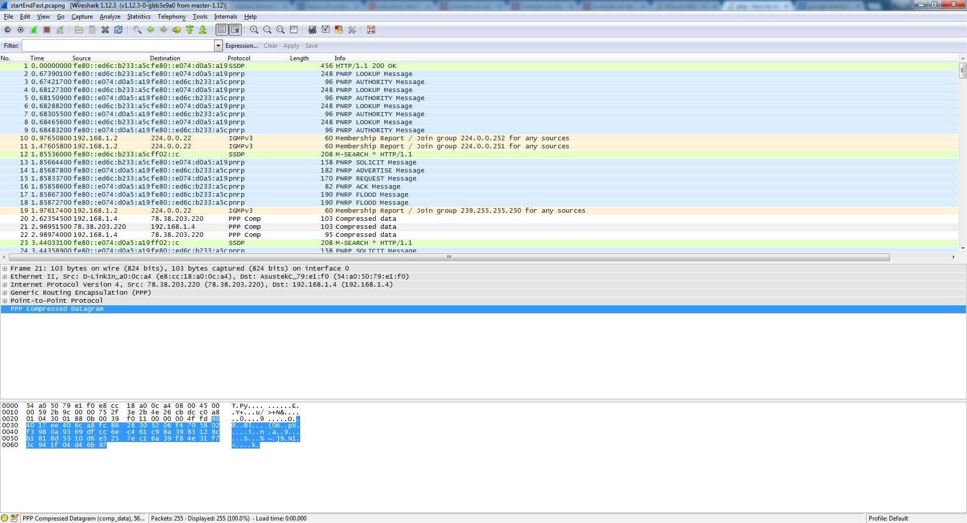 Wireshark captured of ppp transaction