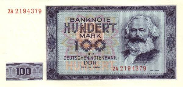 تصویر مارکس بر یک اسکناس صد مارکی آلمان شرقی