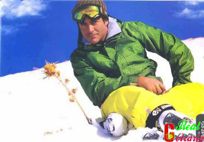 عکس رضا گلزار در کوه اسکی