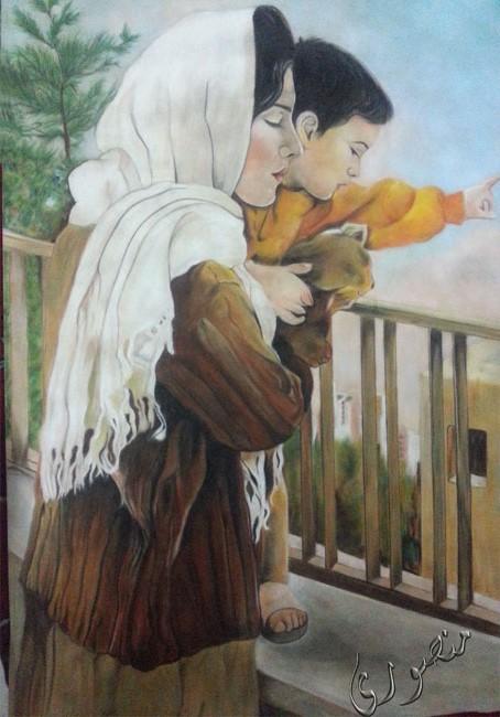 نقاشی زیبای مادر-کار با پاستل گچی روی مقوای مخمل فابریانو