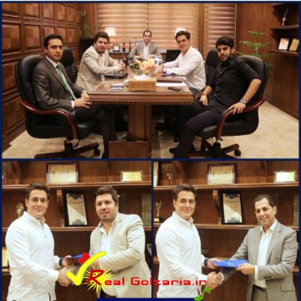 عکس محمدرضا گلزار در حال امضا قرارداد با G.U.M