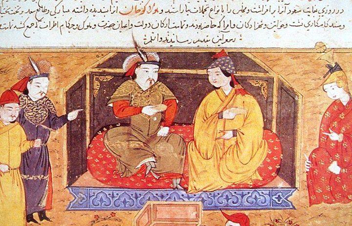 هلاگوخان در کنار همسرش دوقوزخاتون